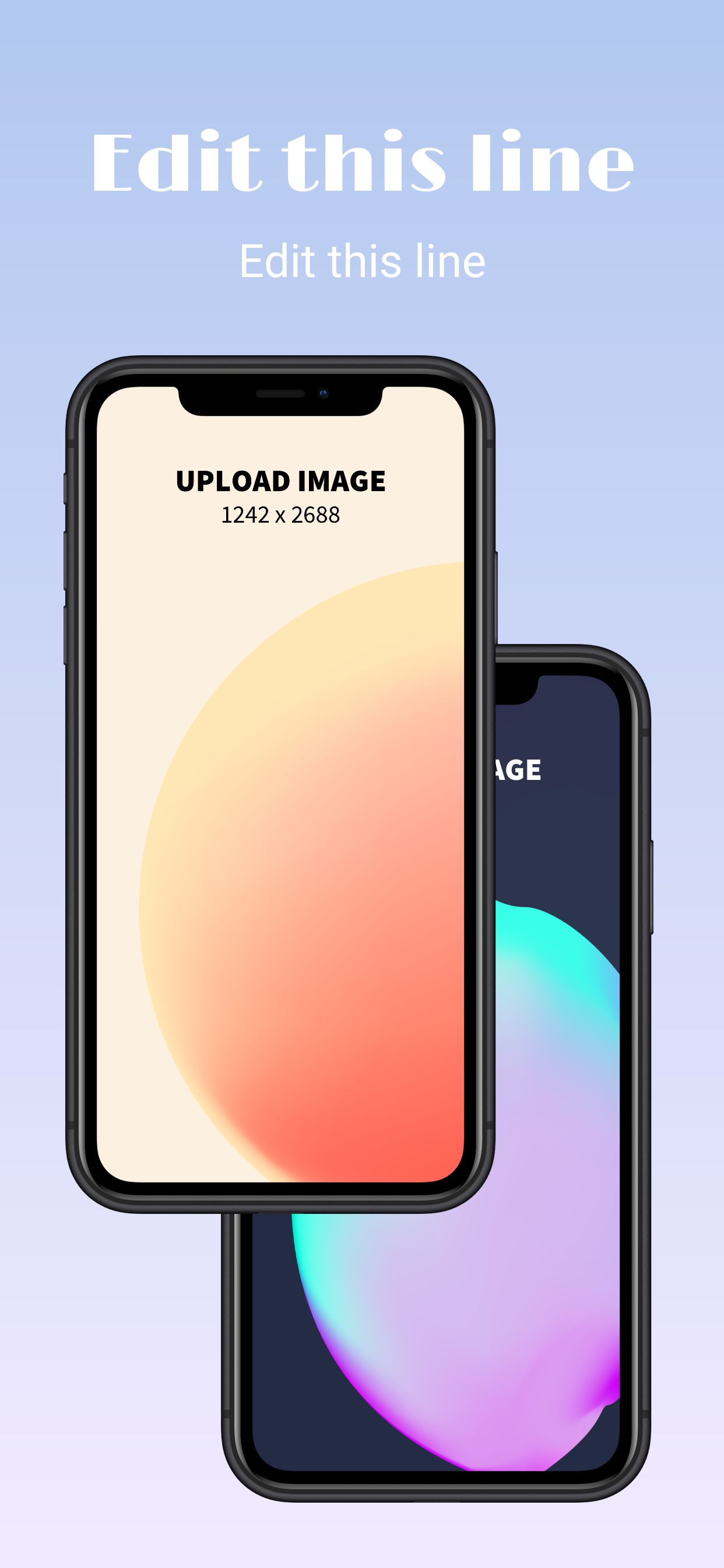 App Store screenshot featuring two photorealistic iPhone XS Max frames and two lines of copy.