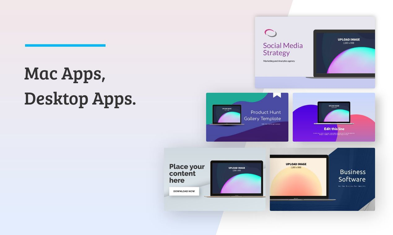Screenshots, icons, and other graphics for macOS apps, Windows apps, Electron apps, and other desktop apps.